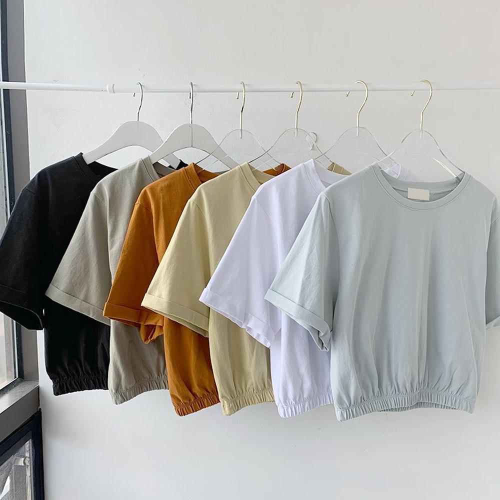 [무료배송]미니멈 밴딩크롭티 <br> 반팔티 티셔츠 롤업 데일리룩